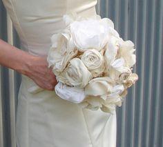 fabric flower bridal bouquet