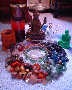 Pagan Altar for crystal ritual. Healing Stones, Crystal Healing, Crystal Altar, Crystals And Gemstones, Stones And Crystals, Gem Stones, Love Spell Caster, Pagan Altar, Pagan Witch