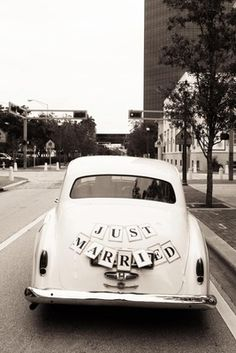 "Vintage car with ""Just Married"" sign"