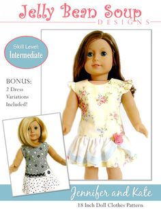 Jennifer and Kate 18 inch Doll Clothes Pattern PDF Download   Pixie Faire