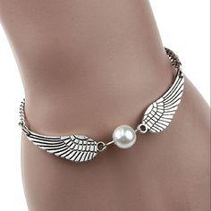 Susenstone®Silver Infinity Retro Pearl Angel Wings Jewelry Dove Peace Bracelet http://shortat.com/TsjhF