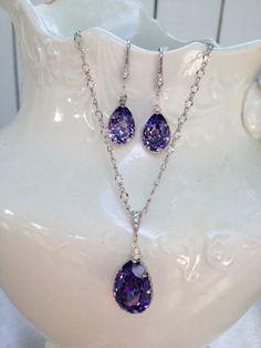Light Purple Amythest- Clear Swarovski Crystals- Bridesmaid Set of Three- Earrings- Necklace