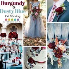 Burgundy and Dusty Blue Wedding Inspiration www.sweetcitycandy.com