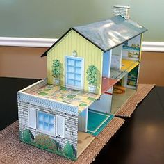 """Vintage Tin Two Story Doll House 26"""" Long x 9"""" Wide x 14"""" High 50s 60s 