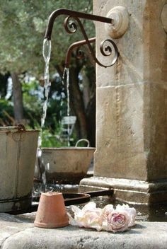 Water sources in Provence, France Stone Fountains, Garden Fountains, Wall Fountains, Fountain Garden, Fountain Ideas, Outdoor Fountains, Garden Ponds, Backyard Ponds, Jacuzzi Outdoor