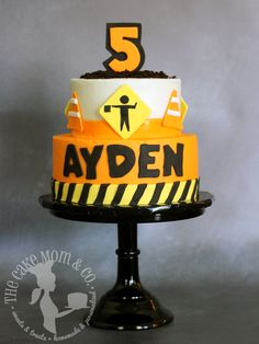 Construction work birthday cake for five year old boy
