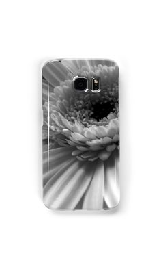 Black and white gerbera daisy Samsung Galaxy cases and skins by Catherine Maughan