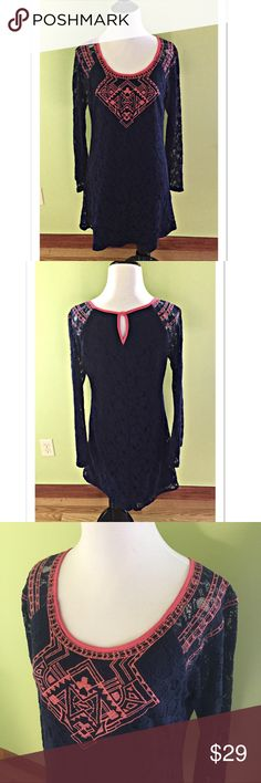 "Flying Tomato Embroidered Lace Dress Bell Sleeves Super cute navy blue lace dress by Flying Tomato. Featuring beautiful embroidery and bell sleeves, this dress is 55% cotton and 45% polyaimde. Fully lined. A size M, it measures 18"" across the Bust; length 33"". EUC Flying Tomato Dresses"