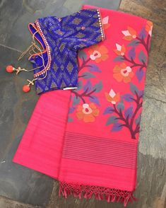 Peach/Pink Matka Silk Saree (Jamdhani Pallu) matched with an embroidered Ikat silk cotton blouse. Sold separately. Drop by the store or email us at service.taamara@gmail.com for online enquiries/orders.