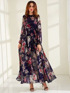 Shop Calico Print Semi Sheer Smock Maxi Dress online. SheIn offers Calico Print Semi Sheer Smock Maxi Dress & more to fit your fashionable needs.