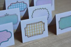 Adorable! Free printable note cards/place cards/ gift tags... She has matching stationery in her shop