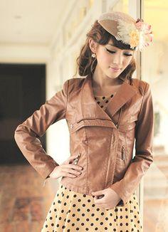 High Waist Brown Girls Leather Jackets