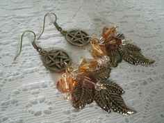 Pentacle Leaf Earrings, wiccan jewelry pagan jewelry wicca jewelry metaphysical witch witchcraft magic pentagram goddess wiccan earrings by Sheekydoodle on Etsy