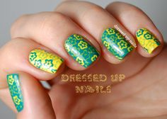 Dressed Up Nails  floral stamped nail art with Winstonia plate W110