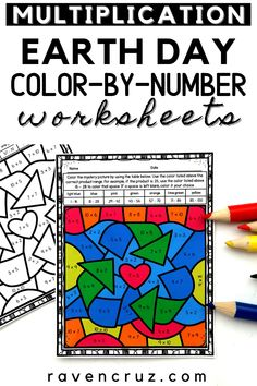 """Are you looking for fun earth day activities for your 3rd-grade math students? These Earth Day mulitiplication color-by-number worksheets are a fun """"get to"""" activity for you students learning multiplication. #mathwithraven Multiplication Activities, Math Activities, Common Core Math Standards, Earth Day Activities, Number Worksheets, Third Grade Math, Homeschool Math, To Color, Elementary Math"""