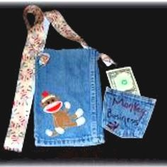 Recycled Jeans Purse and Wallet made by a young girl from her jeans.