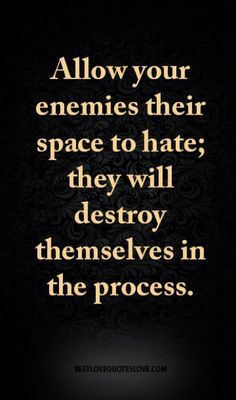Allow your enemies their space to hate; sorrowfully, they will destroy themselves and their soul in the process. Wisdom Quotes, True Quotes, Great Quotes, Words Quotes, Quotes To Live By, Motivational Quotes, Inspirational Quotes, Sayings, Wise Women Quotes
