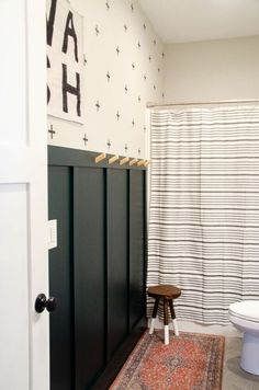 My kid's bathroom has been plain and boring since the day we have moved in a couple of years ago. We literally only hung a shower curtain up. Budget Bathroom, Bathroom Wall, Small Bathroom, Bathroom Ideas, Bathrooms, Farmhouse Budget, Farmhouse Decor, Chest Of Drawers Makeover, Wood Cornice