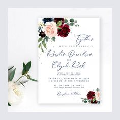 #weddinginvitation #package #suite #burgundy #wine #navy #printable #diy #wedding #bridetobe #floral #roses #invites #invitations #printables #template #personalized #madetoorder #packagedeal Wedding Invitation Sets, Invitation Suite, Shower Invitations, Invites, Welcome Poster, Wedding Welcome Signs, Cream Roses, Unique Gifts, Handmade Gifts