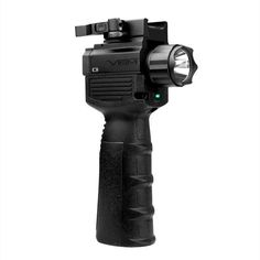 Vism By Ncstar Qr Vertical Grip/Built In Led Flashlight & Green Laser - LED vertical foregrip with integrated green laser. Dual buttons allow easy selection between constant or momentary use. Selector allows user to choose white light, white light and laser, or laser only. Quick release mount allows for fast mounting and dismounting.Features:Ultra Bright 150 Lumen Flashlight with Crenellated Bezel.Lightweight Glass Reinforced Nylon Ergonomically Textured Grip.Hard Anodized Aluminum Upper for…