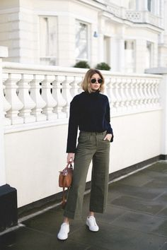 Emma Hill Style, Spring uniform, navy high neck wool jumper sweater, khaki wide leg cropped jeans trousers, house of fraser, white lace up trainers, round ray ban sunglasses, casual outfit