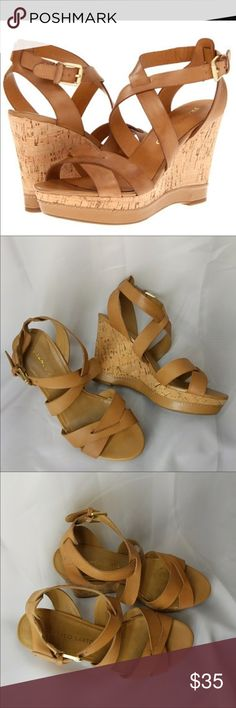 Franco Sarto Wedges Sophie, Camelot  Wedge Sandal, Camel Cork and leather straps  See pic5 for bottom soles lightly worn.  Excellent Condition!!! Franco Sarto Shoes Wedges