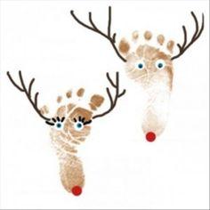 Kerstkaart rendier voet