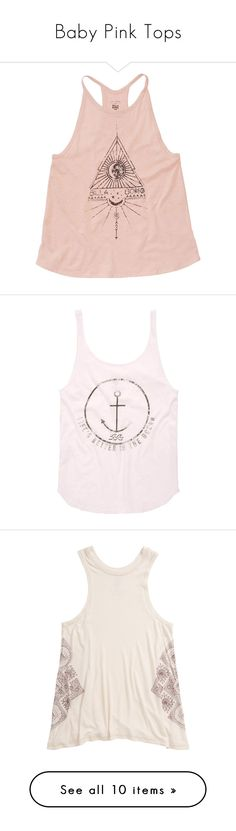 """""""Baby Pink Tops"""" by ninahorvat04 ❤ liked on Polyvore featuring tops, pink jersey, halter neck tank top, halter tank top, high neck halter top, halter tops, t-shirt/prints, white, vintage tank and vintage tops"""