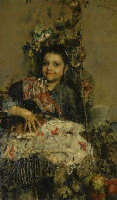 Una Regazza by Antonio Mancini (Italian 1852 - 1930)