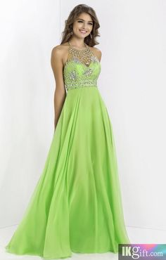 Halter Chiffon and Beading Long Green Prom Dress - Evening Dresses - Special Occasion Dresses - Wedding & Events