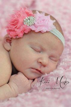 Newborn headband, baby girl headband, baby headband, pink double shabby chic flower headband, pink headband with rhinestone for baby
