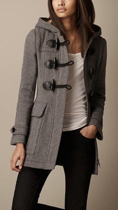 Stitch Fix Fall Winter. I would love this grety wool hooded jacket with black leather button loops. Perfect with basic tee/tank and skinny jeans.