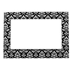 Feuille Damask Pattern White on Black Magnetic Photo Frame - black and white gifts unique special b&w style