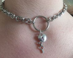 Silver Plated O-Ring Bdsm Collar Heart Padlock Lock Key Charm Necklace Chain Cosplay Pet Slave Kitten Kinky Fetish Submissive