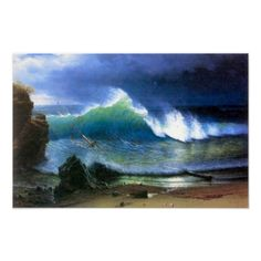 Albert Bierstadt-The coast of the Turquoise sea Print
