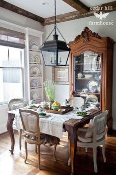 I currently have a similar china cabinet, and with French doors could use this space for eating or computing.