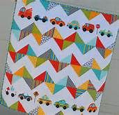 chevron quilt patterns - Bing Images - Like the addition of the cars - could be anything cute.