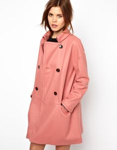 $138, Pink Coat: French Connection Glorious Wool Oversized Coat In Dusky Pink. Sold by Asos. Click for more info: https://lookastic.com/women/shop_items/39149/redirect