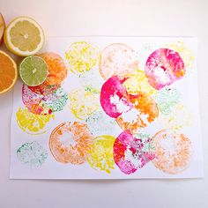 Fruit/Vegetable Printing. Use oranges, apples, pears, carrots, potatoes, peppers, etc. Just add paint and paper.