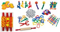 Playdough Accessories Collection from Chalk Drop. Includes tools to roll, stamp, cut, and extrude playdough.
