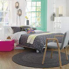 alpine white bed in bedroom furniture | CB2