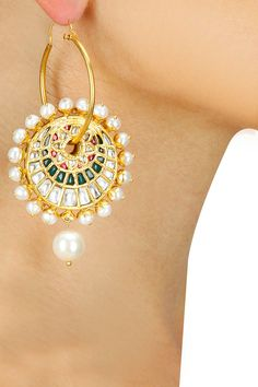 Gold plated crystal pearl hoop chandbali earrings available only at Pernia's Pop-Up Shop.