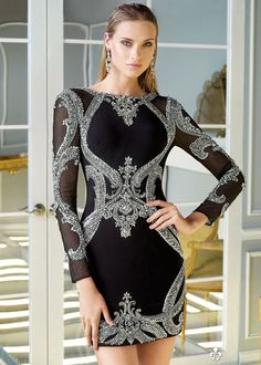 Claudine For Alyce 2324 Beaded Long Sleeve Mini Dress