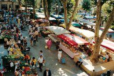 Market in Aix en Provence - 13100 Aix en Provence - Farmers market and flowers: Tue, Thu, Sat, 8h00-13h00 / place de la Madeleine, place Richelme - Textile market: Tue, Thu, 8h00-14h00, cours Mirabeau - Flea market: Tue, Thu, Sat, 8h00-13h00, place de Verdun