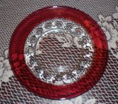 cranberry glass luncheon plates | Indiana Glass Cranberry Flash Kings Crown /Thumbprint Salad/Lunch from ...