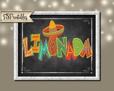 chalkboard style FIESTA Party LIMONADA sign  by PSPrintables