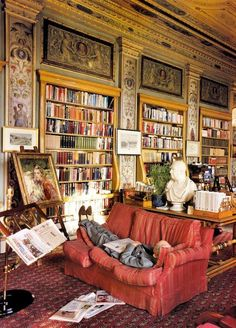The Duke of Devonshire taking it easy at his library.