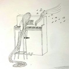 #little #girl on the #piano #draw