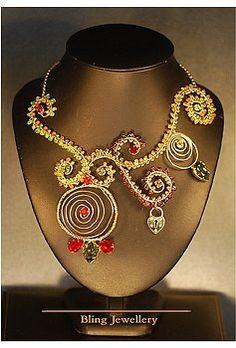Peridot Garnet and Carnelian Wire Scrolled Necklace by Janine Antulov