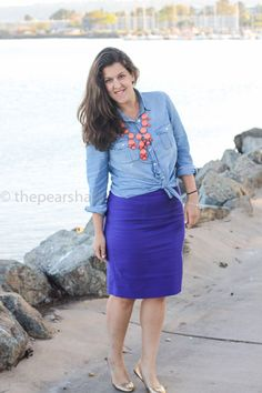 purple pencil skirt and chambray